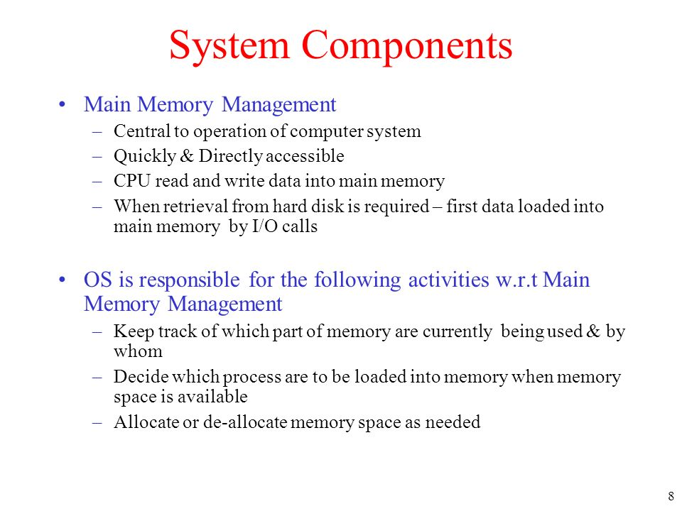 System Components Main Memory Management