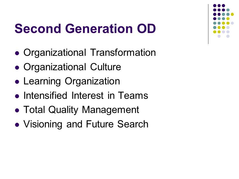 Second Generation OD Organizational Transformation