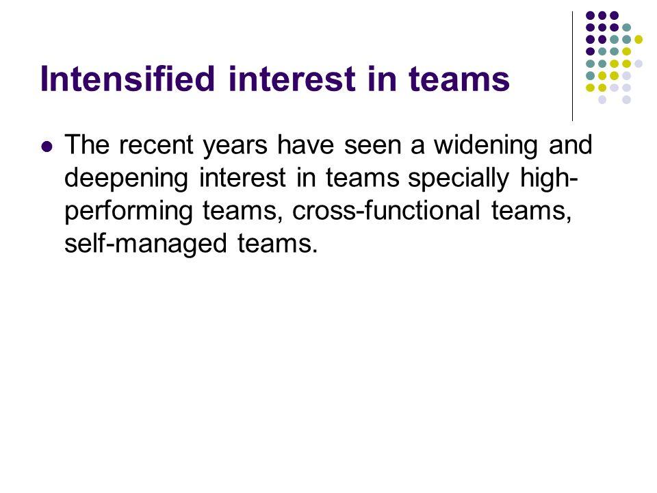 Intensified interest in teams