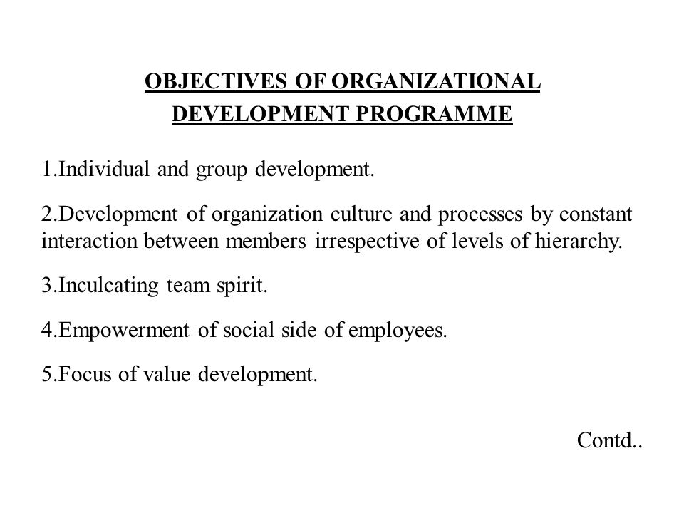 OBJECTIVES OF ORGANIZATIONAL DEVELOPMENT PROGRAMME