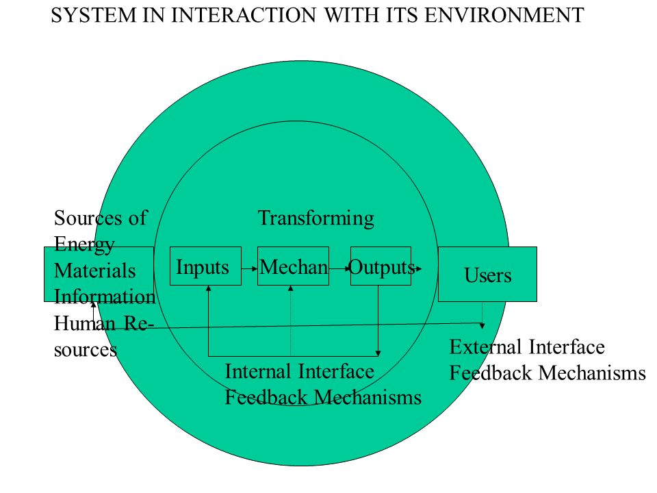 SYSTEM IN INTERACTION WITH ITS ENVIRONMENT