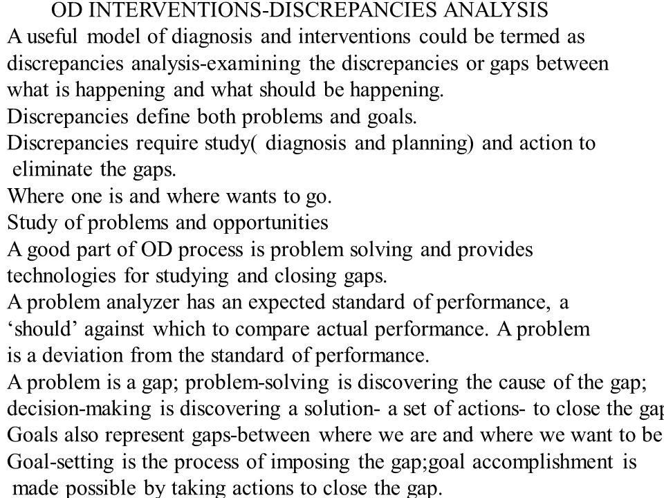 OD INTERVENTIONS-DISCREPANCIES ANALYSIS