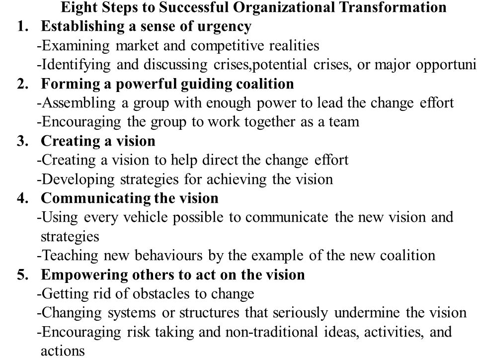 Eight Steps to Successful Organizational Transformation