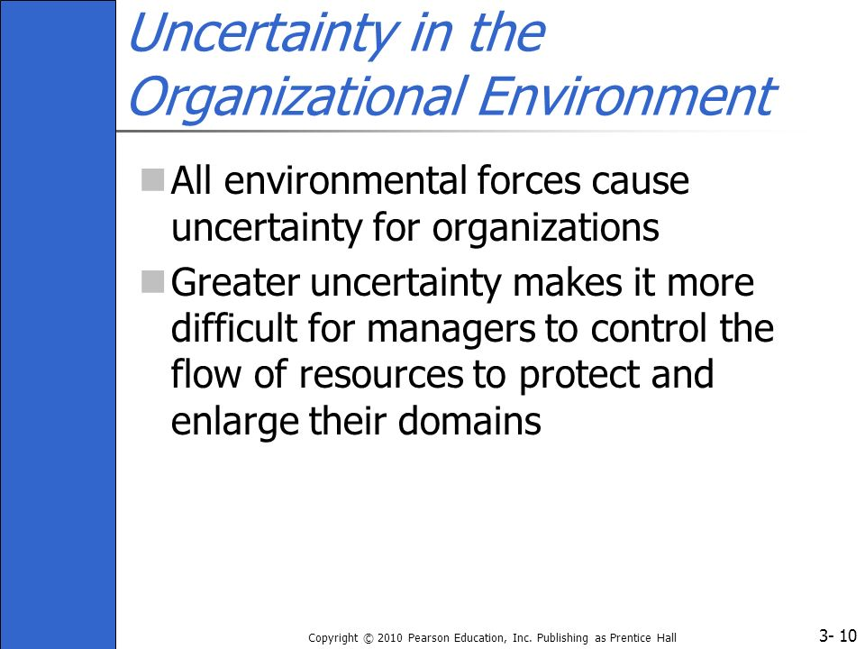 Uncertainty in the Organizational Environment