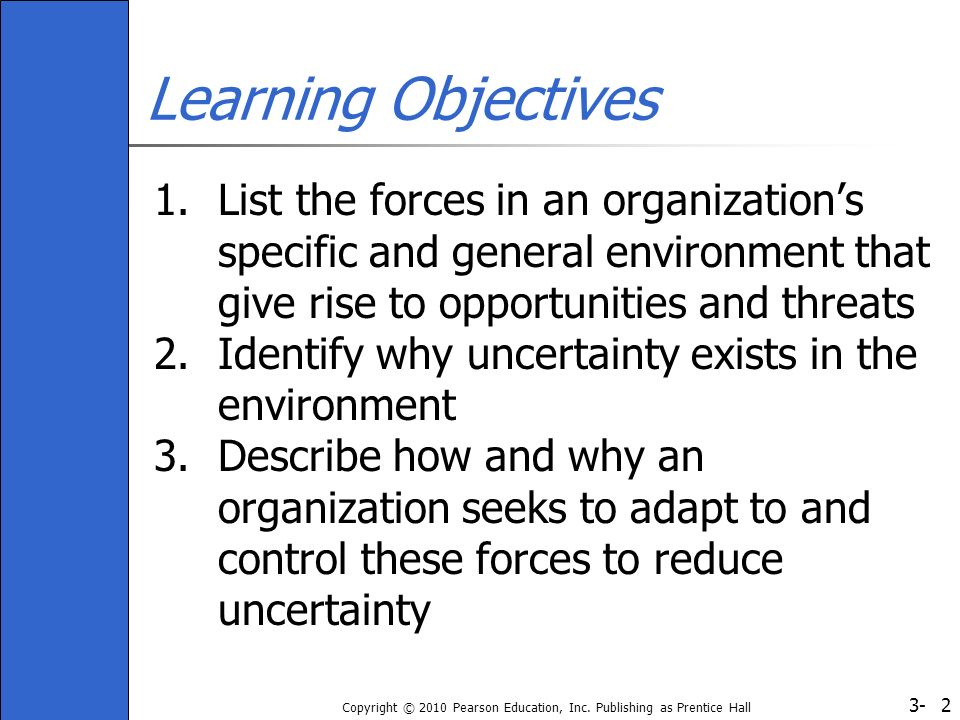 Learning Objectives List the forces in an organization's specific and general environment that give rise to opportunities and threats.