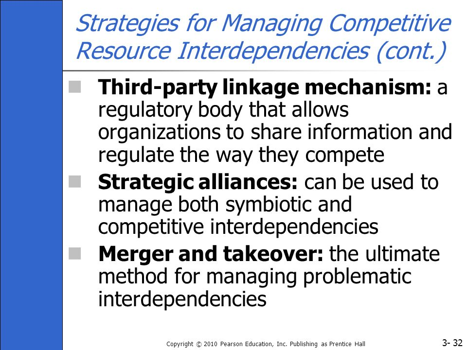 Strategies for Managing Competitive Resource Interdependencies (cont.)