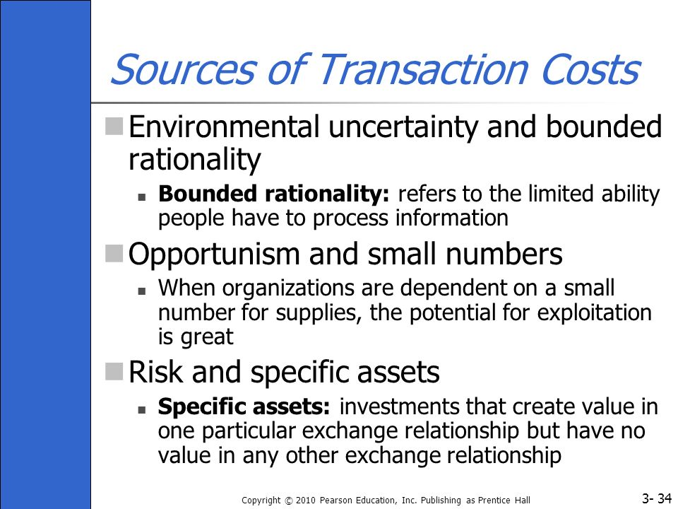 Sources of Transaction Costs
