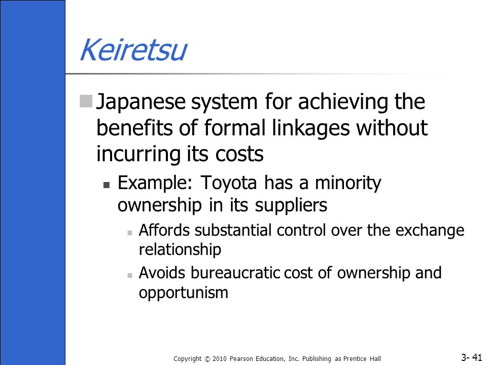 Keiretsu Japanese system for achieving the benefits of formal linkages without incurring its costs.
