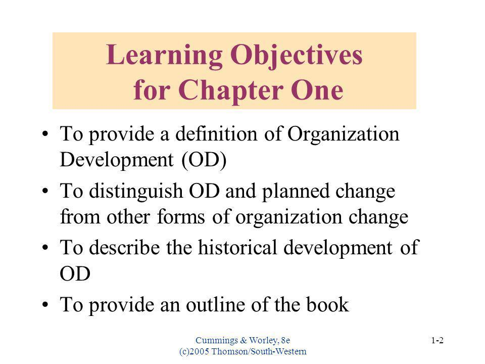 Learning Objectives for Chapter One