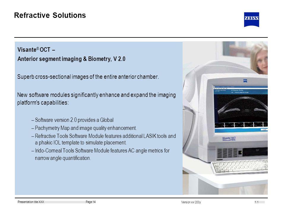 Refractive Solutions Visante® OCT –