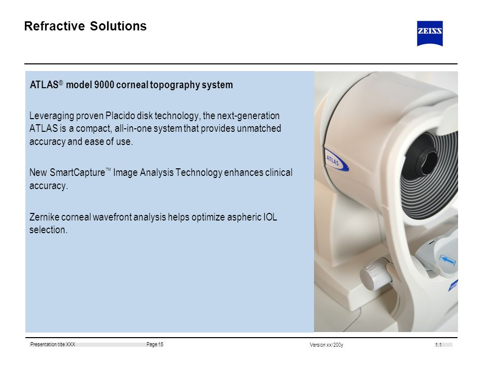 Refractive Solutions ATLAS® model 9000 corneal topography system