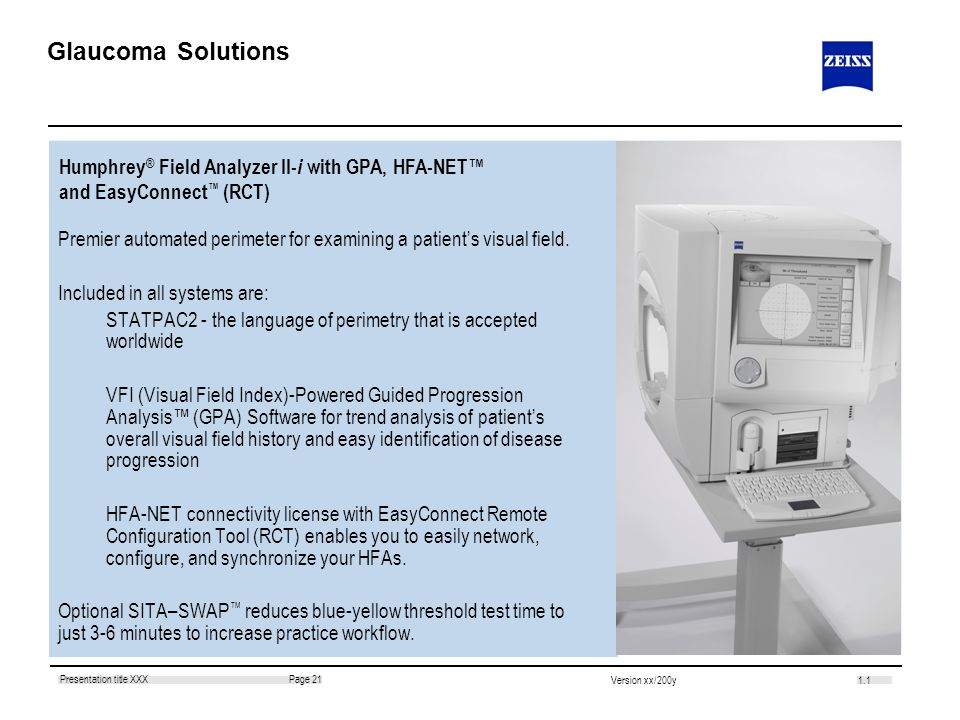 Glaucoma Solutions Humphrey® Field Analyzer II-i with GPA, HFA-NET™ and EasyConnect™ (RCT)