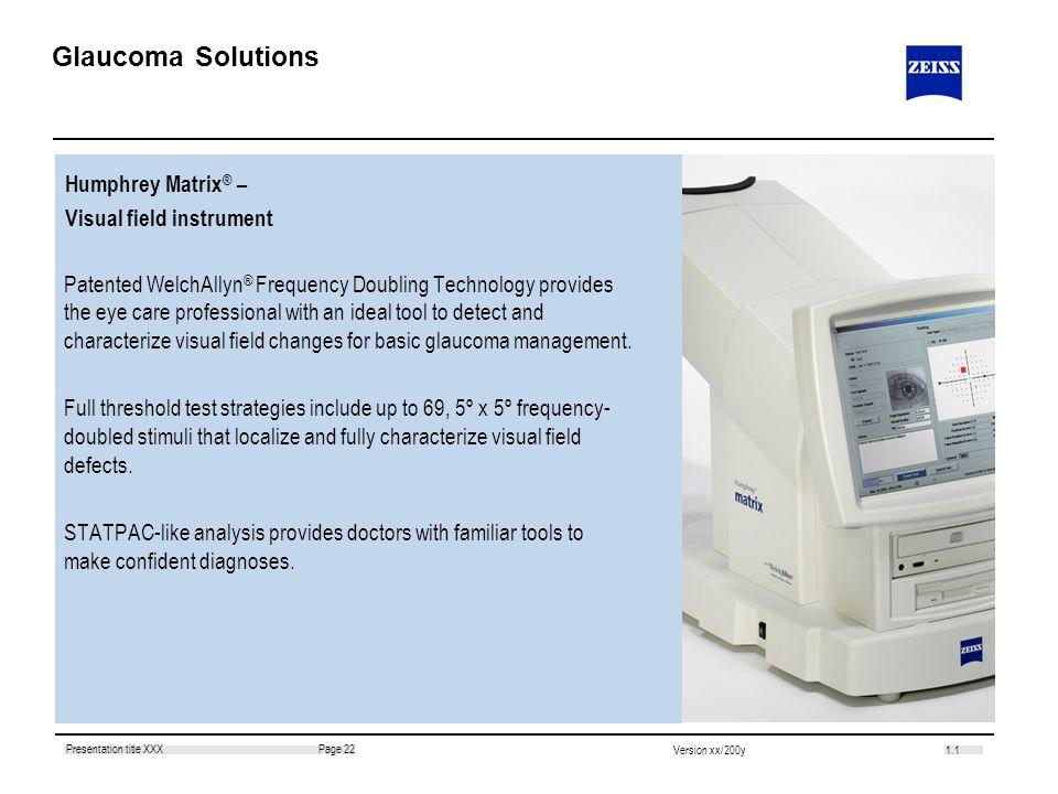 Glaucoma Solutions Humphrey Matrix® – Visual field instrument