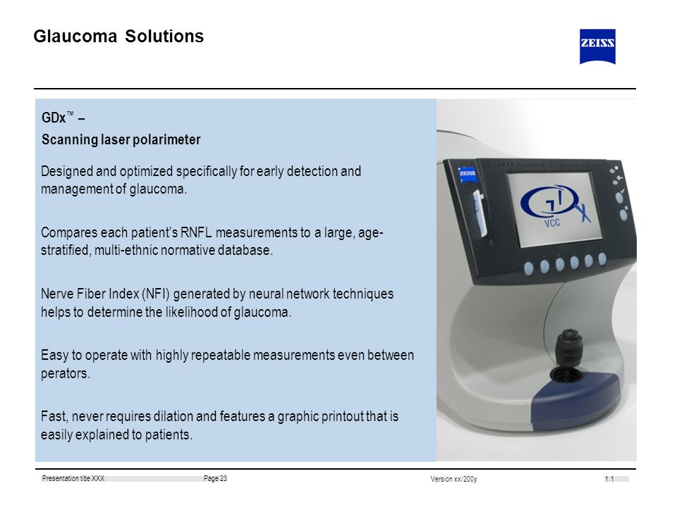 Glaucoma Solutions GDx™ – Scanning laser polarimeter