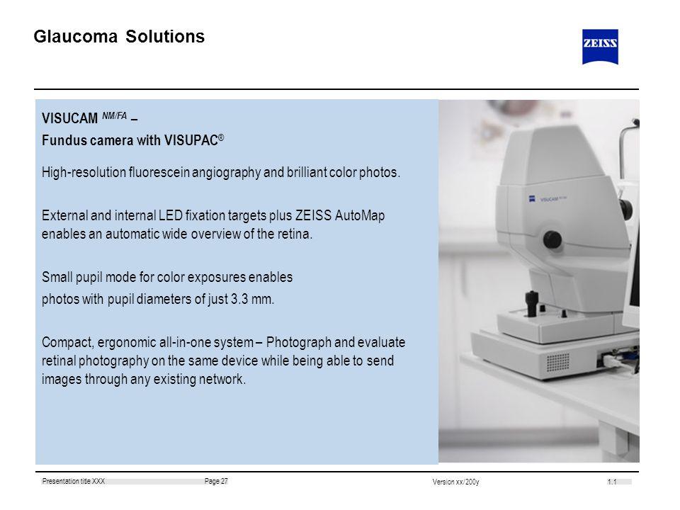 Glaucoma Solutions VISUCAM NM/FA – Fundus camera with VISUPAC®
