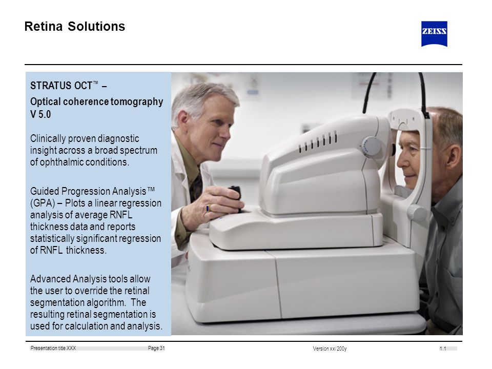 Retina Solutions STRATUS OCT™ – Optical coherence tomography V 5.0