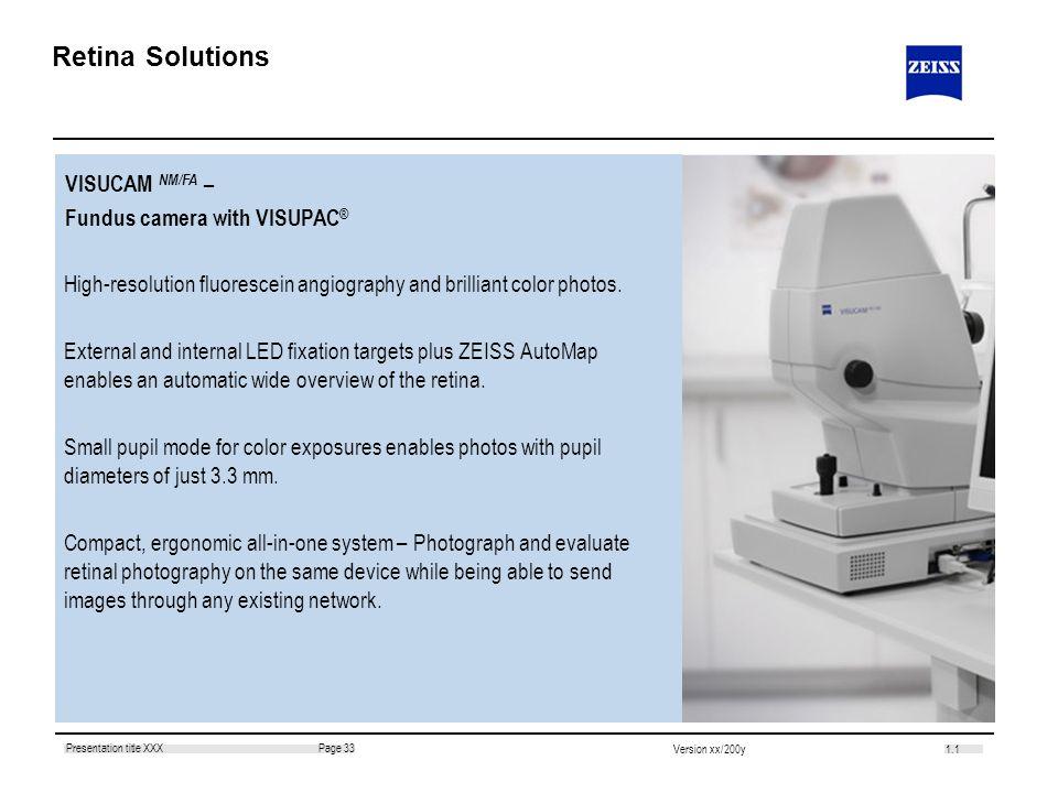Retina Solutions VISUCAM NM/FA – Fundus camera with VISUPAC®