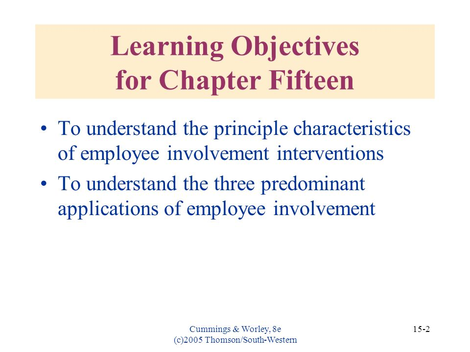 Learning Objectives for Chapter Fifteen