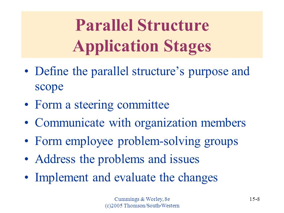 Parallel Structure Application Stages