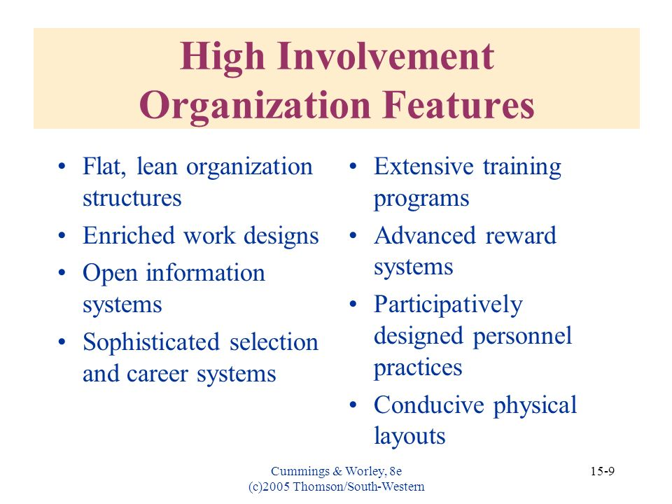 High Involvement Organization Features