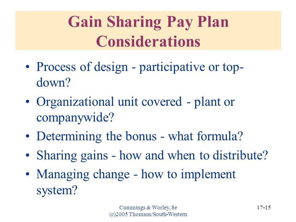 Gain Sharing Pay Plan Considerations