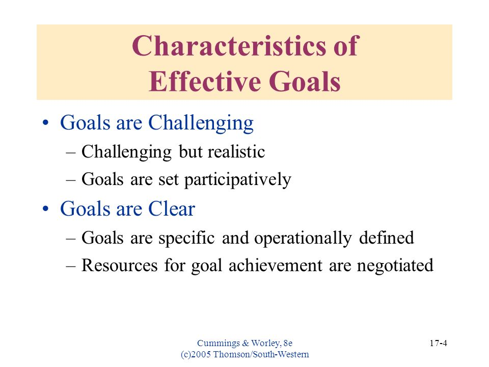 Characteristics of Effective Goals