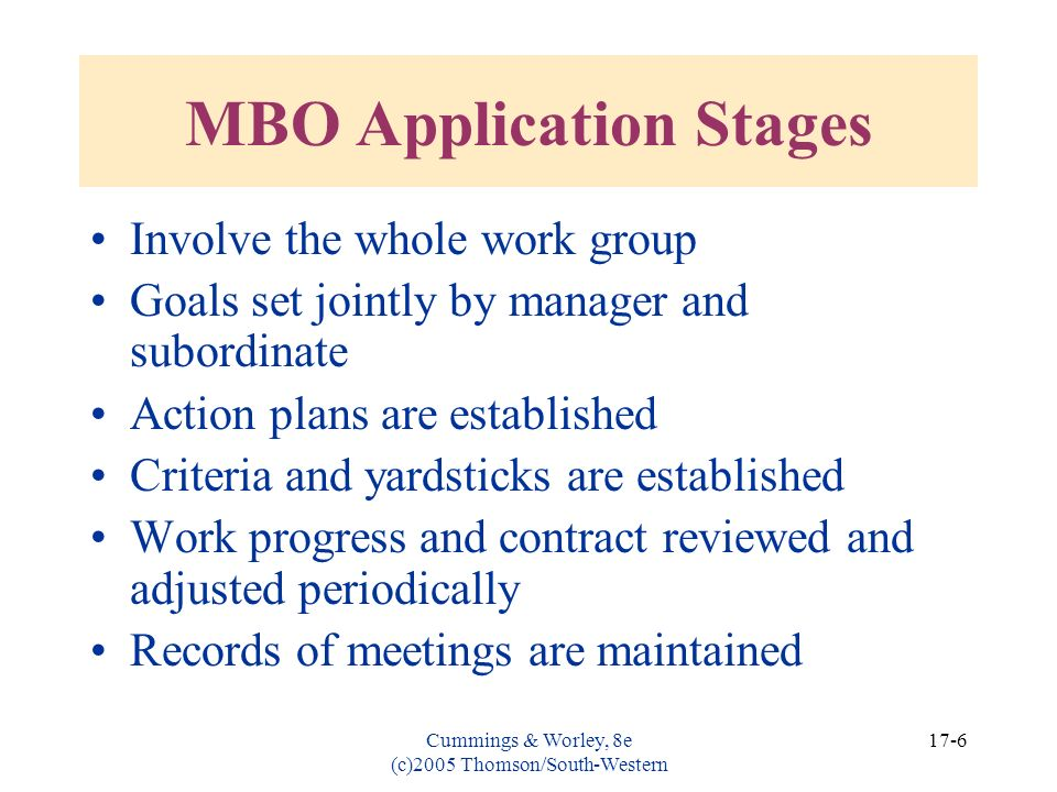 MBO Application Stages
