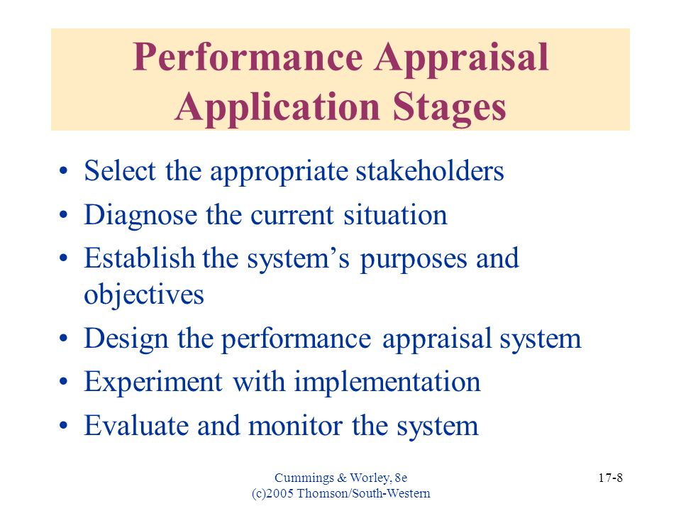 Performance Appraisal Application Stages