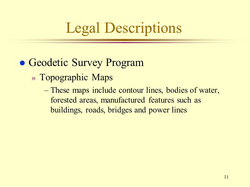 Legal Descriptions Geodetic Survey Program Topographic Maps