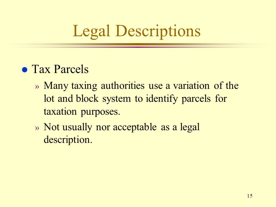 Legal Descriptions Tax Parcels