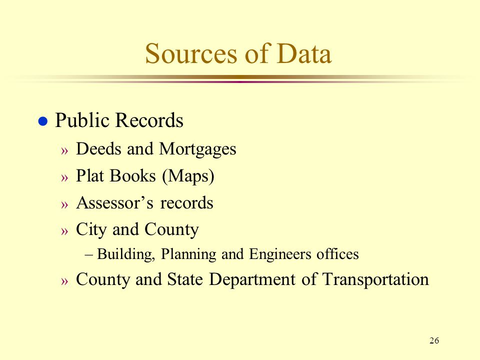 Sources of Data Public Records Deeds and Mortgages Plat Books (Maps)