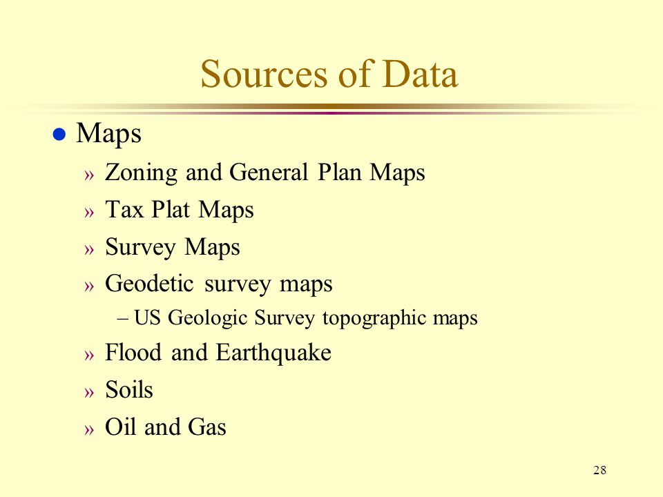 Sources of Data Maps Zoning and General Plan Maps Tax Plat Maps