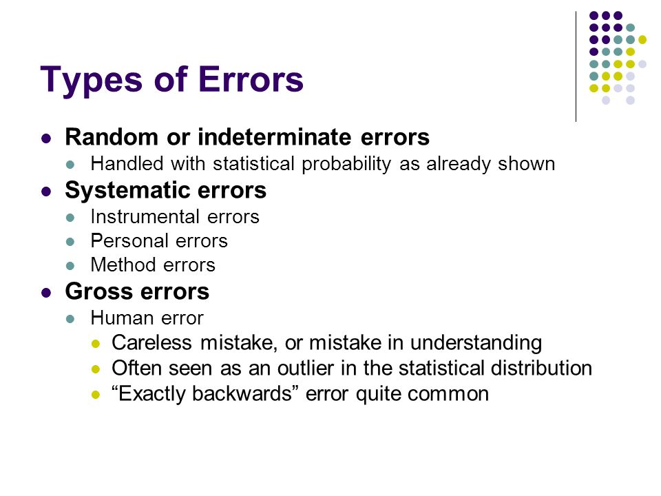 Types of Errors Random or indeterminate errors Systematic errors
