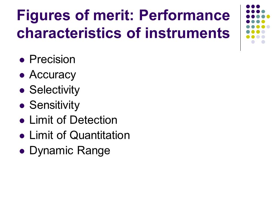 Figures of merit: Performance characteristics of instruments