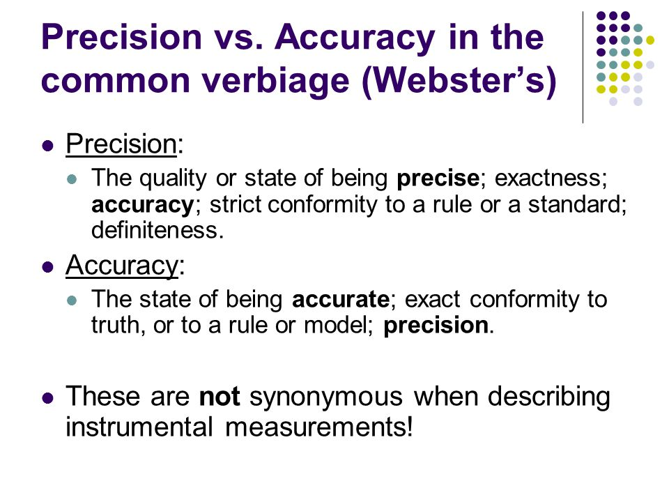 Precision vs. Accuracy in the common verbiage (Webster's)
