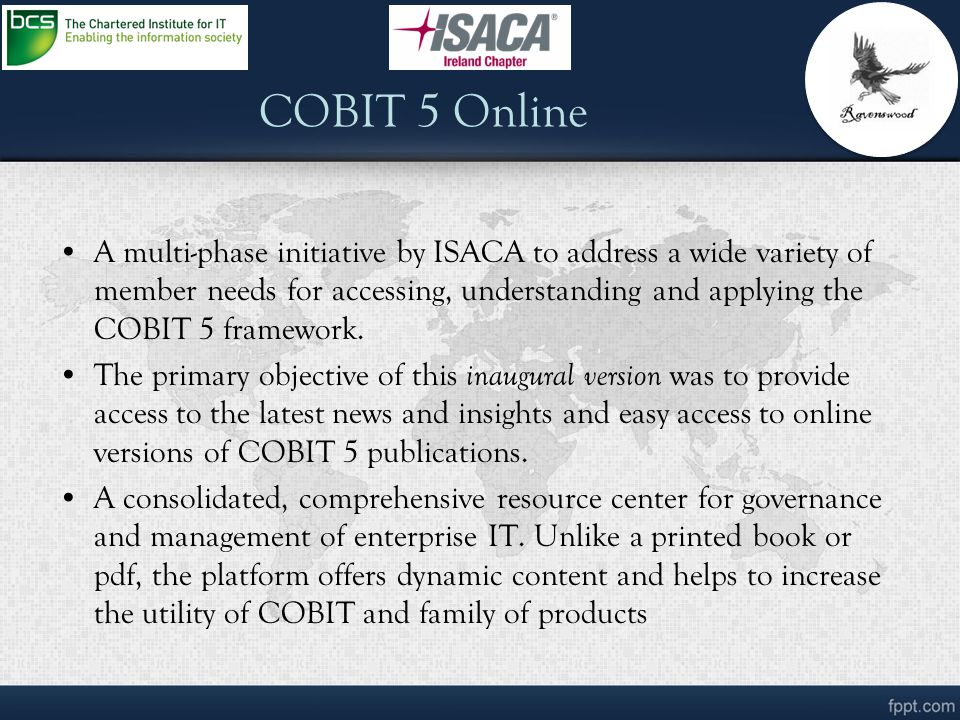 introduction of cobit Control objectives for information and related technologies, commonly referred to as cobit, is a best practice framework produced by isaca for.