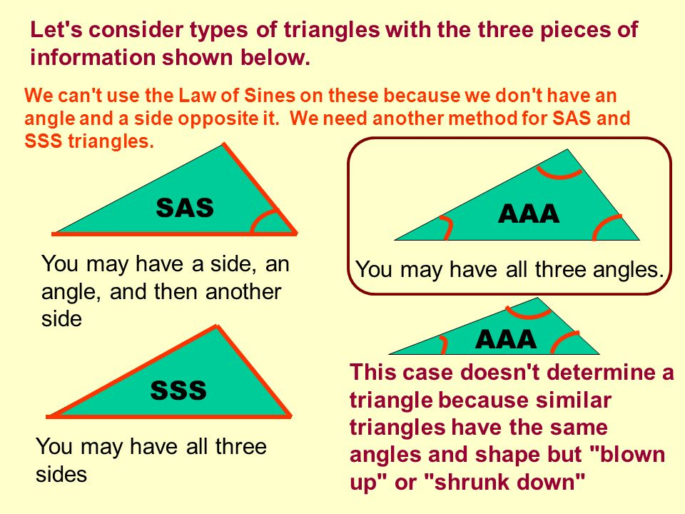 Let s consider types of triangles with the three pieces of information shown below.