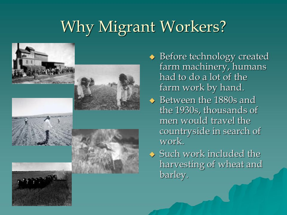 Why Migrant Workers Before technology created farm machinery, humans had to do a lot of the farm work by hand.