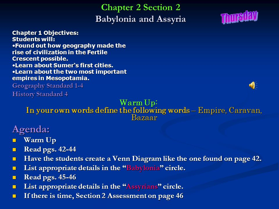 Chapter 2 Section 2 Babylonia and Assyria