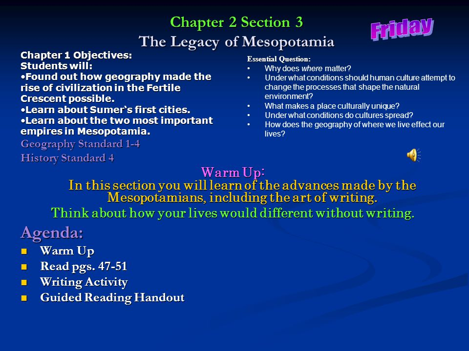 Chapter 2 Section 3 The Legacy of Mesopotamia