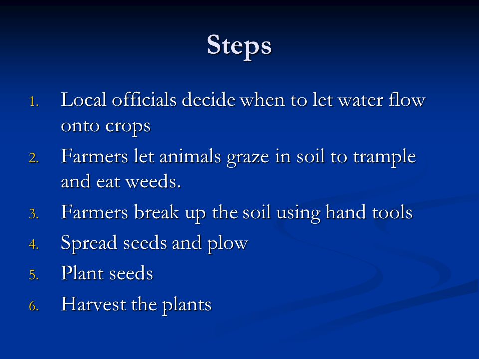 Steps Local officials decide when to let water flow onto crops