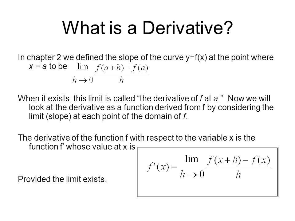 What is a Derivative In chapter 2 we defined the slope of the curve y=f(x) at the point where x = a to be.