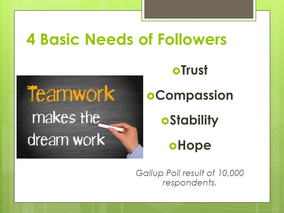 4 Basic Needs of Followers