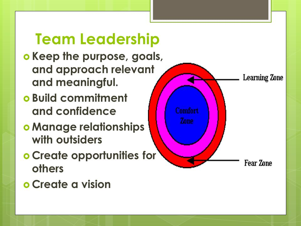 Team Leadership Keep the purpose, goals, and approach relevant and meaningful. Build commitment and confidence.