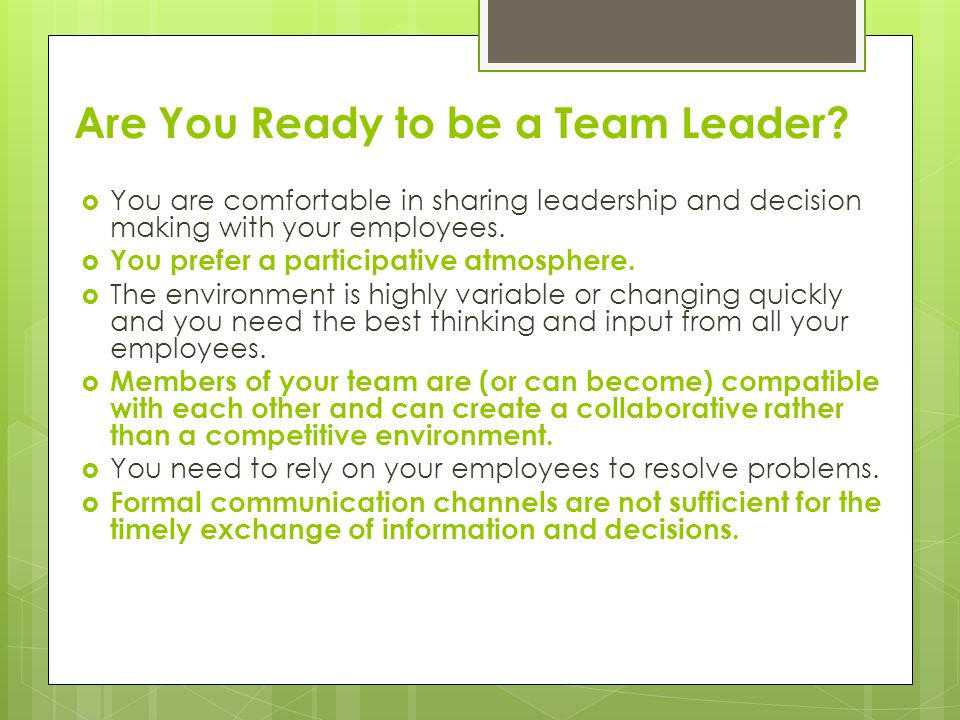 Are You Ready to be a Team Leader