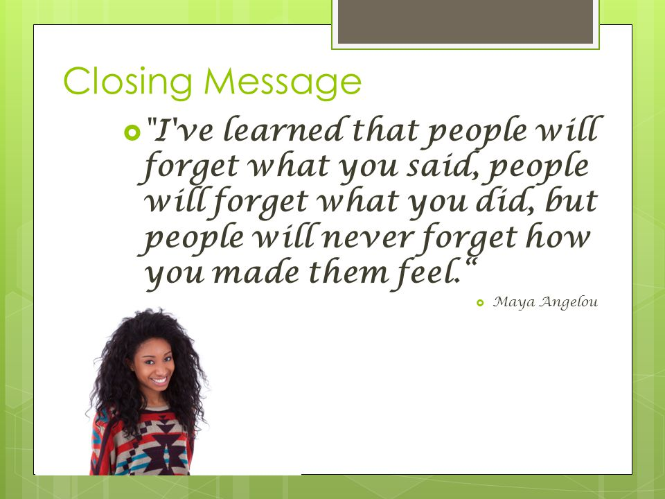 Closing Message