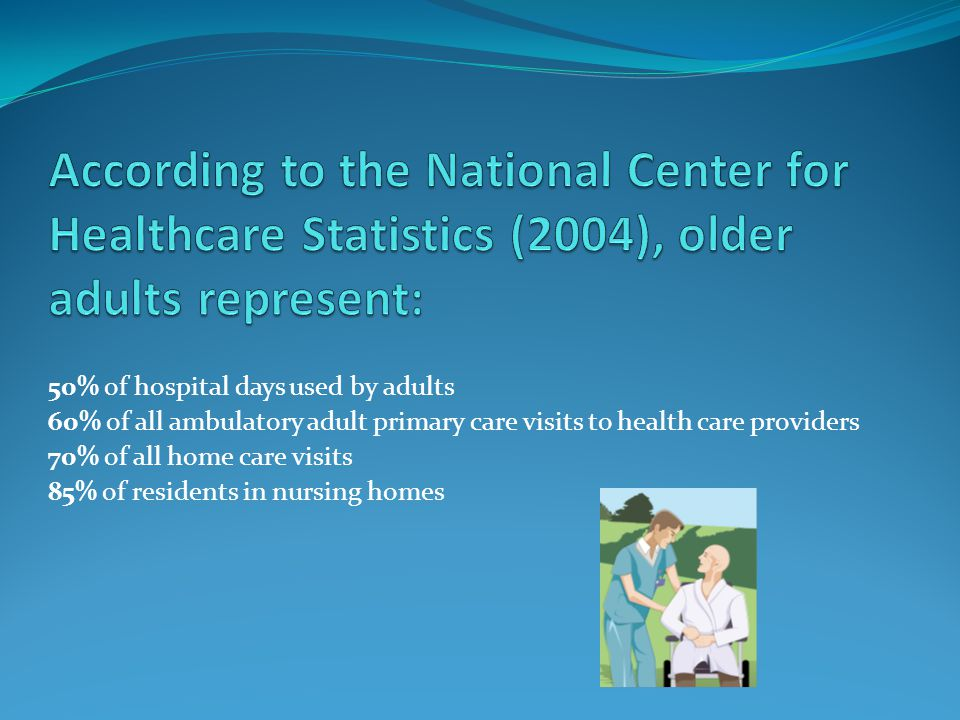 According to the National Center for Healthcare Statistics (2004), older adults represent: