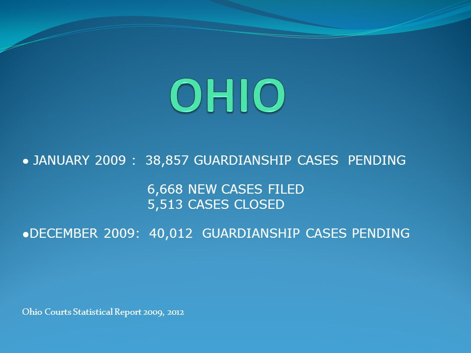 OHIO ● JANUARY 2009 : 38,857 GUARDIANSHIP CASES PENDING. 6,668 NEW CASES FILED. 5,513 CASES CLOSED.