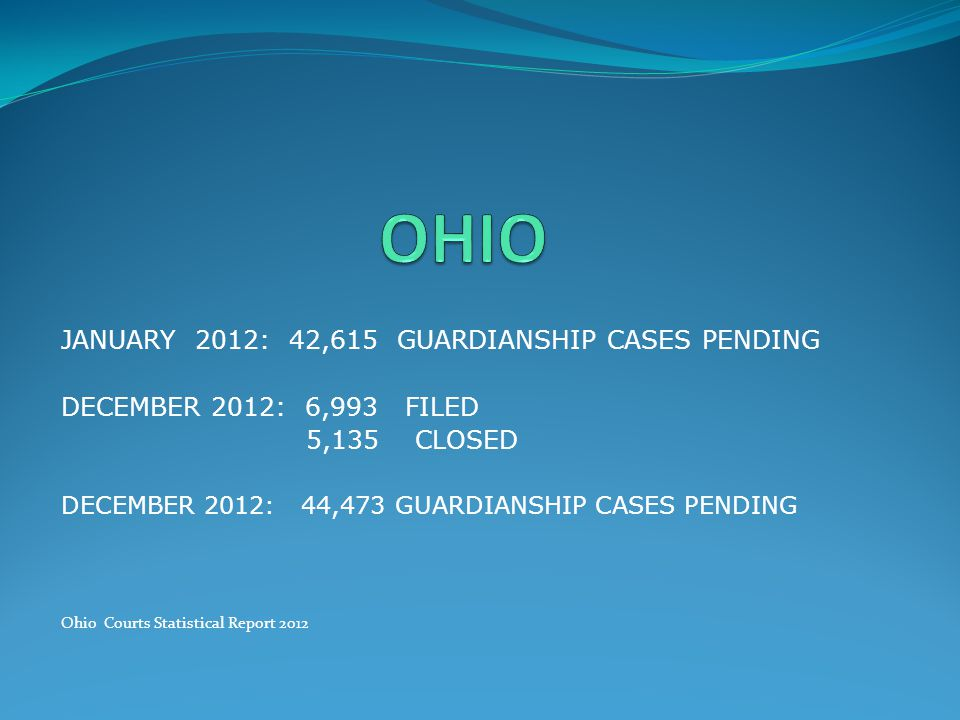 OHIO JANUARY 2012: 42,615 GUARDIANSHIP CASES PENDING