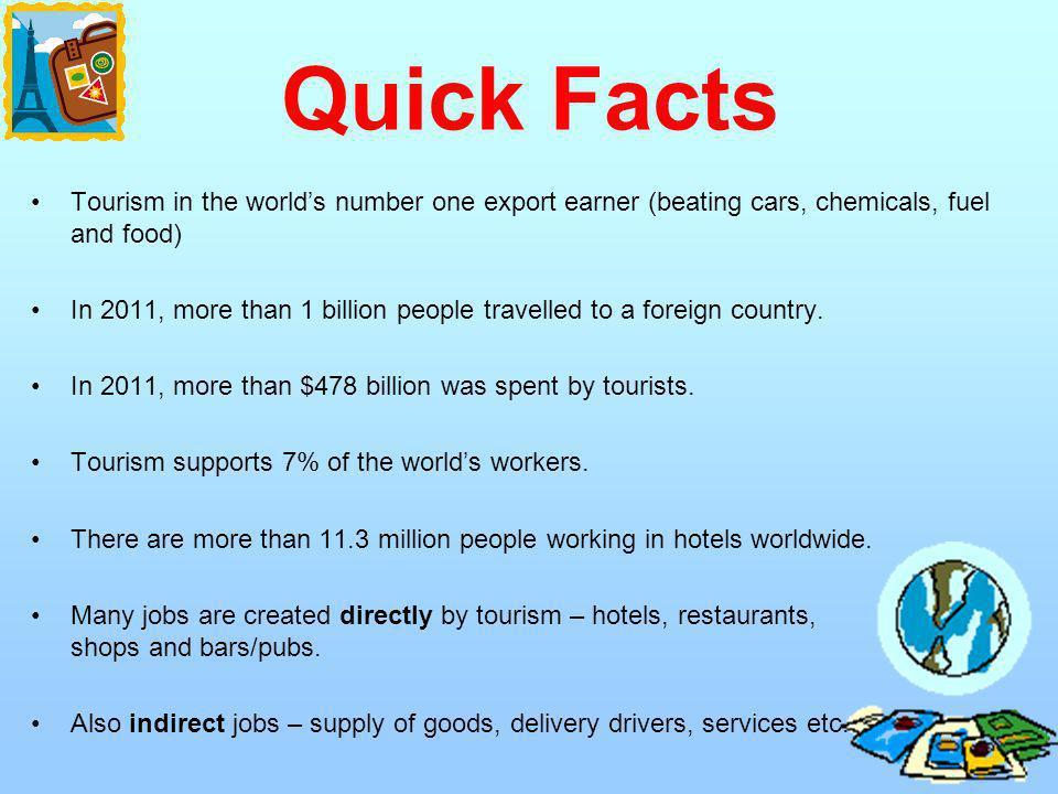 Quick Facts Tourism in the world's number one export earner (beating cars, chemicals, fuel and food)